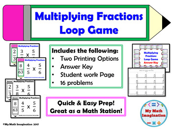 Multiplying Fractions Loop Game includes Simplifying