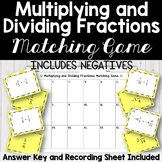 Multiplying Fractions Matching Game (includes negatives)