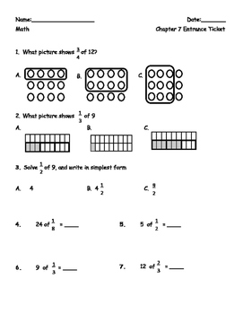 Multiplying Fractions by whole numbers using a model matching task cards