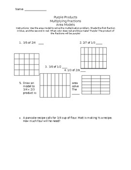Multiplying Fractions with Area Models (Purple Products)