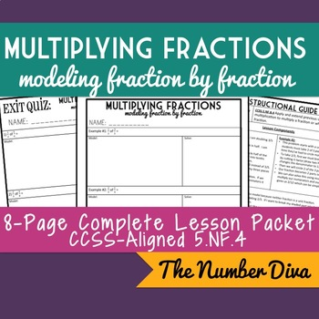 Multiplying Fractions with Modeling, 8-Page Practice Packet + Quiz, 5.NF.4