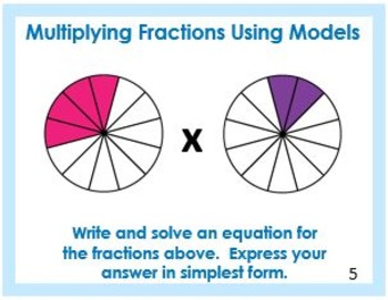 Multiplying Fractions Using Models Task Cards