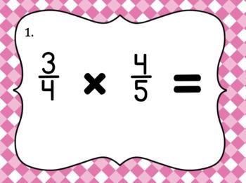 Multiplying Fractions with Unlike Denominators- Set of 20 Task Cards