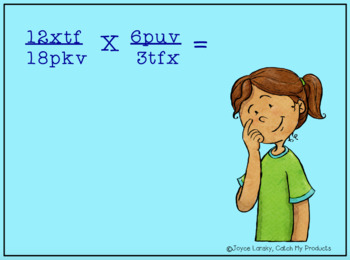 Multiplying Fractions with Variables (using letters & numbers)
