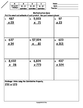 Multiplying Greater Numbers Quiz