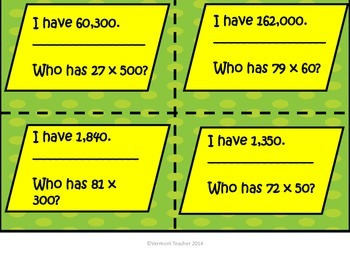 Multiplying Groups of Tens, Hundreds, Thousands - I Have...Who Has...