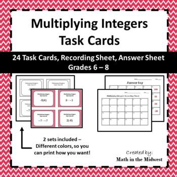 Multiplying Integer Task Cards - 7.NS.1