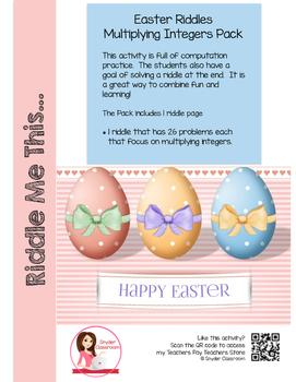 Easter Multiplying Integers Math Riddles