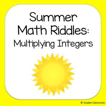 Summer Multiplying Integers Math Riddles