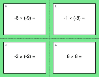 Multiplying Integers BINGO and Task Cards