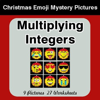 Multiplying Integers - Christmas EMOJI Color-By-Number Math Mystery Pictures