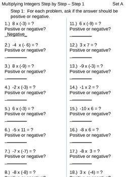 Multiplying Integers - Chunking