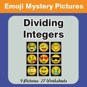 Dividing Integers Color-By-Number EMOJI Math Mystery Pictures