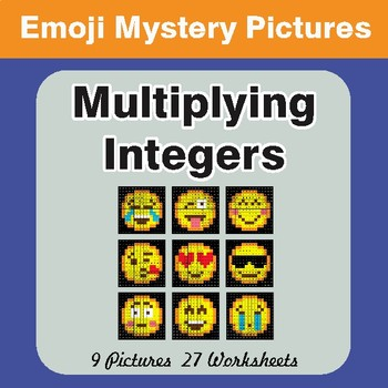 Multiplying Integers Color-By-Number EMOJI Math Mystery Pictures