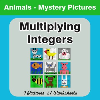 Multiplying Integers - Color-By-Number Mystery Pictures