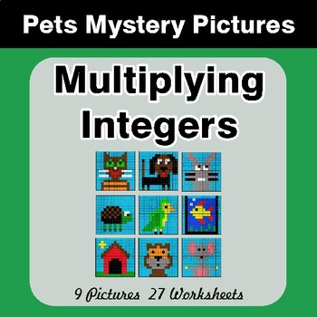 Multiplying Integers - Color-By-Number Math Mystery Pictures - Pets Theme