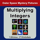 Multiplying Integers - Color-By-Number Math Mystery Pictures - Space theme