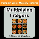 Multiplying Integers - Color-By-Number PUMPKIN EMOJI Math Mystery Pictures