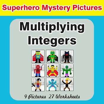 Multiplying Integers - Color-By-Number Superhero Math Mystery Pictures
