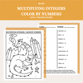 Multiplying Integers Color By Numbers Worksheet (6th grade, 7th grade, 8th grade