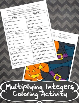 Multiplying Integers Coloring Acvtivity
