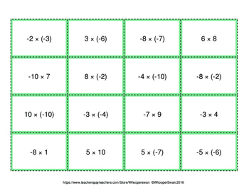 Multiplying Integers - Connect 4 Game