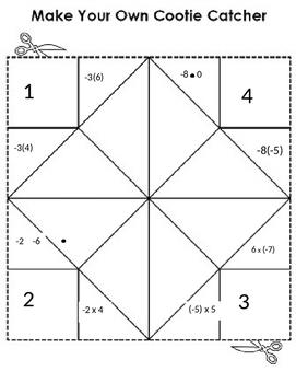 Multiplying Integers Cootie Catcher