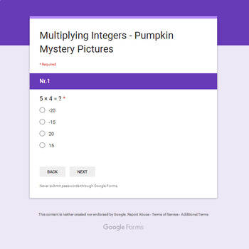 Multiplying Integers - EMOJI PUMPKIN Mystery Picture - Google Forms