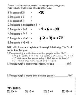 Multiplying Integers Exploration