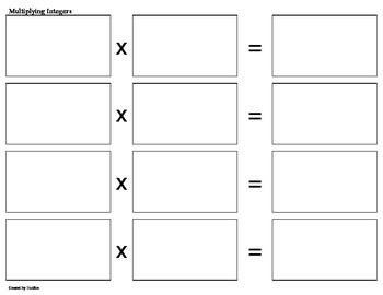 Multiplying Integers File Folder Games