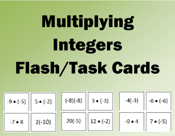 Multiplying Integers Flash/Task Cards (32 Cards)