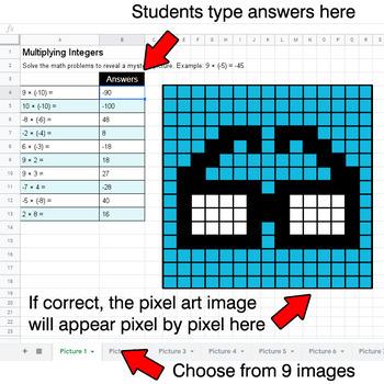 Multiplying Integers - Google Sheets Pixel Art - Hipsters