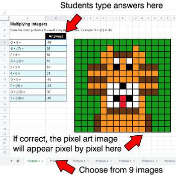 Multiplying Integers - Google Sheets Pixel Art - Jungle Animals