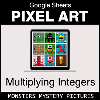 Multiplying Integers - Google Sheets Pixel Art - Monsters