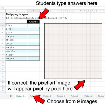 Multiplying Integers - Google Sheets Pixel Art - Pets