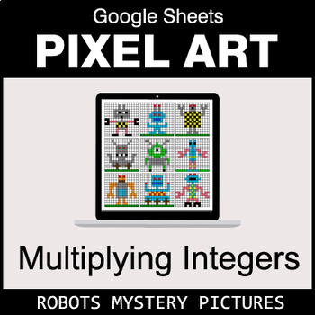 Multiplying Integers - Google Sheets Pixel Art - Robots