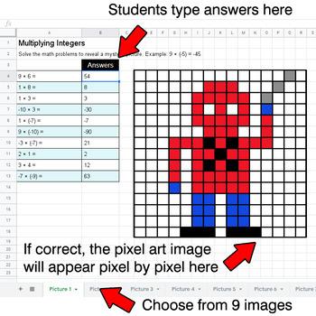 Multiplying Integers - Google Sheets Pixel Art - Superhero