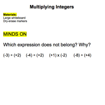 Multiplying Integers Lesson
