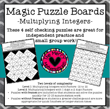 Multiplying Integers Magic Puzzle Boards by The Merry Mathematician