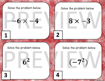 Multiplying Integers Task Cards