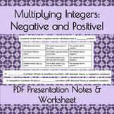 Multiplying Integers: Negative & Positive! PDF Presentatio