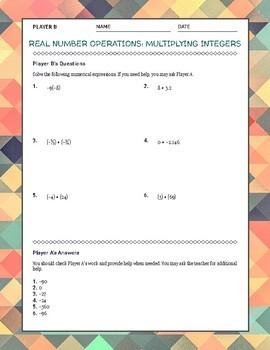 Multiplying Integers Partner Activity