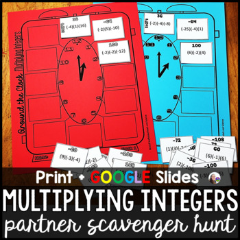 Multiplying Integers Partner Scavenger Hunt Activity