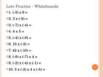 Powerpoint - Multiplying Integers