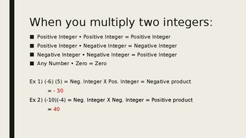 Multiplying Integers Powerpoint Lesson Plan