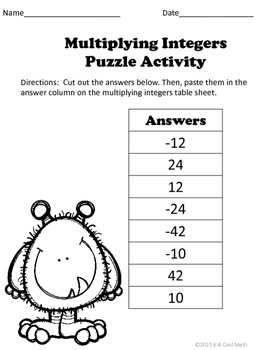 Multiplying Integers Puzzle