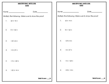 Multiplying Integers Quiz