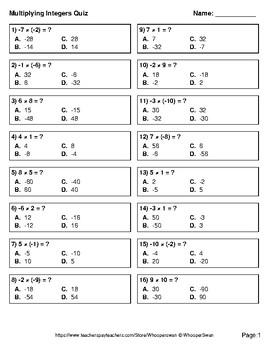 Multiplying Integers Quiz - Test - Assessment - Worksheets