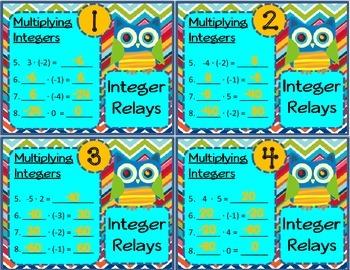 Multiplying Integers Relay