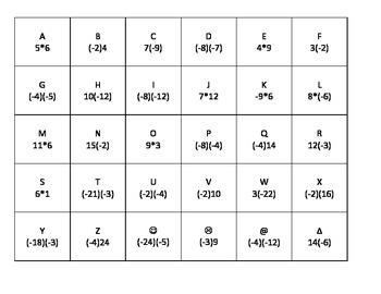 Multiplying Integers Room Race